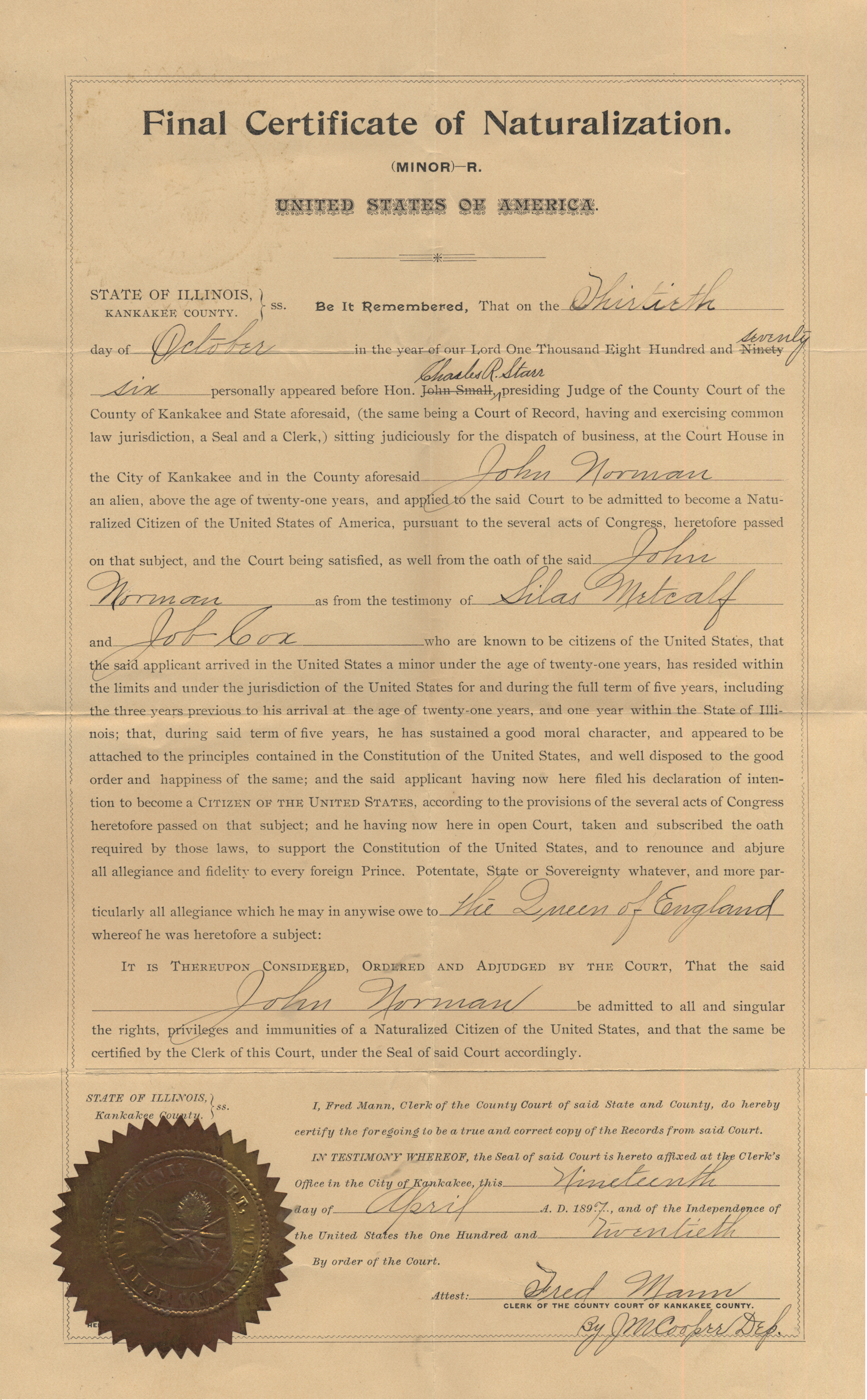 Family histories home john norman naturalization certificate image 1betcityfo Images